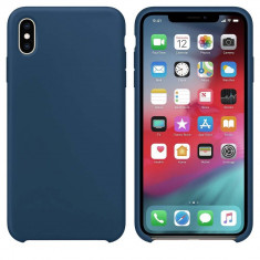 Husa Silicon Apple Style Fara Logo iPhone Xs Max Interior Alcantara Dark Blue