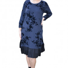 Rochie casual Anita cu insertii de catifea ,flower si volanase,nuanta de bleumarin