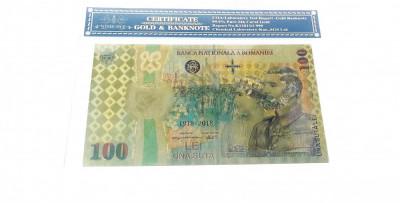 Bancnota 100 LEI 2018 Centenar Unire aur 24k gold certificat folie protectie foto