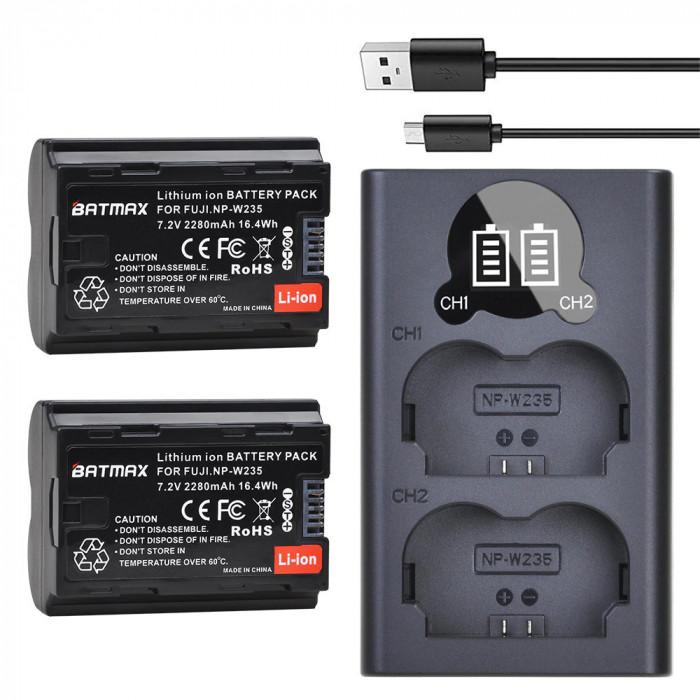 Set 2 acumulatori NP-W235 + incarcator dublu Fujifilm Fuji X-T4, XT4