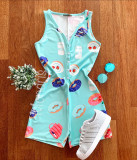 Cumpara ieftin Pijama dama scurta tip salopeta albastra fara maneci cu nasturi si imprimeu Milk & Cookies