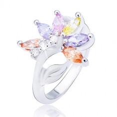 Inel argintiu, floare cu petale din zirconiu colorat - Marime inel: 56
