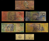 AUSTRALIA SET 5 BANCNOTE DOLARI EMISIUNEA 2002 - 2017 POLYMER PLACAT CU AUR 24K