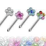 Piercing nas - floare cu zircon - Culoare zirconiu piercing: Aurora Boreală - AB