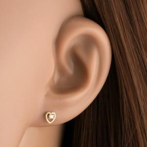 Cercei din aur galben de 14K - diamant transparent în contur inimă