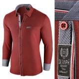 Camasa pentru barbati, rosu, slim fit, elastica, casual, cu guler - arezzo II