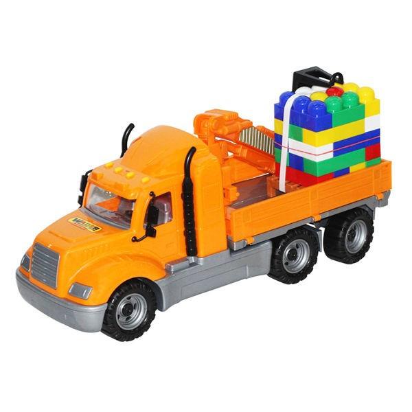 Camion-macara + palet cuburi - Mike, 53x19x26 cm, Wader