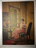 Cumpara ieftin Tablou Cusatoreasa la fereastra, semnat Nicolae Vermont, ulei pe carton, Portrete, Impresionism