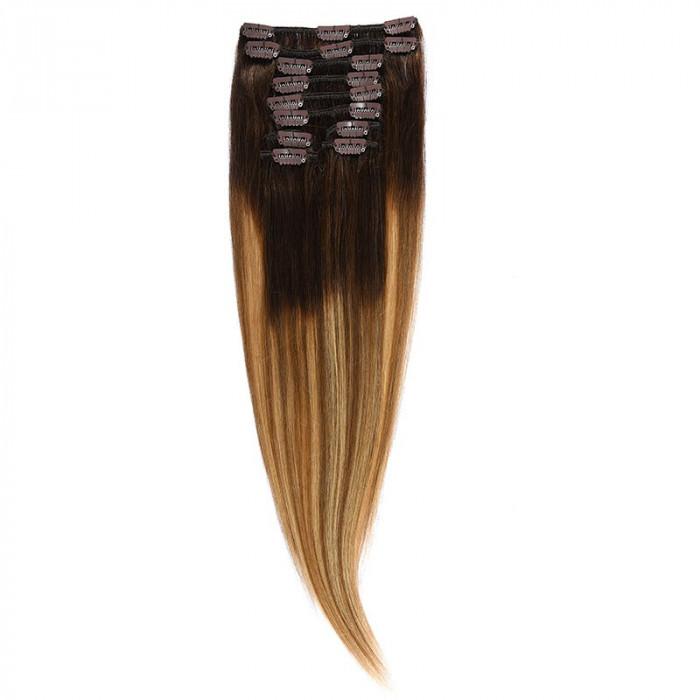 Clip-On Par Natural MegaVolum 50cm 240gr Balayage Castaniu/Saten Luminos/Blond Opal 2/8/22