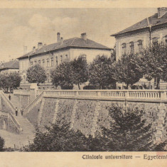 CARTE POSTALA CLUJ 1929 CLINICELE UNIVERSITARE EGYETEMI KLINIKAK
