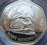 50 pence 2021 Marea Britanie, Temnodontosaurus, Dinosauria, B unc, Coincard, Europa