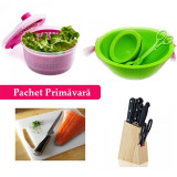 Pachet Primăvară! Uscător Salată + Set Boluri și clește pentru salată + Set Cuțite cu suport + Tocător