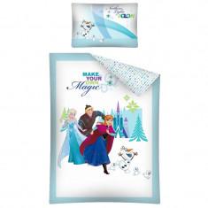 Set lenjerie de pat 2 piese pentru copii 100 x 135 cm Disney Frozen FRO 16 A DC, Multicolor