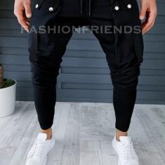 Pantaloni de trening negri conici 18238