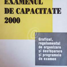 Examenul de capacitate 2000. Graficul, regulamentul de organizare si desfasurare si programele de examen
