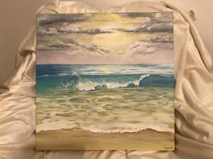 Last wave. Pictura acril pe panza. Dimensiuni 50/50 cm.