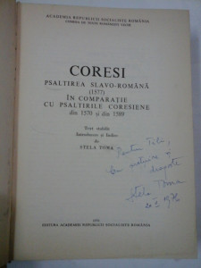 PSALTIREA SLAVO-ROMANA 1577 - CORESI