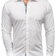 Cămașă elegantă pentru bărbat cu mâneca lungă albă Bolf 9983
