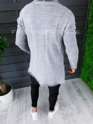Cardigan barbati gri deschis slim fit ZR T3596 foto