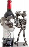 Cumpara ieftin Suport din Metal pentru Sticla de Vin, model Cuplu de Indragostiti, cu Inimii Love, Argintiu Negru, capacitate 1 Sticla, H 24cm, L19 cm