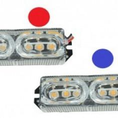 Set stroboscoape LED cu doua jocuri de lumini si 6 led Rosu-Albastru