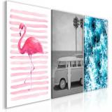 Tablou canvas 3 piese - Colectie de vacanta - 120 x 60 cm, Artgeist