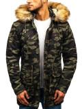 Geacă de iarnă parka pentru bărbat camuflaj-verde Bolf 88620