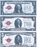 Bancnota Statele Unite ale Americi 1,2,5 Dolari 1928 - P377-379 (3 reproduceri)