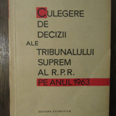 CULEGERE DE DECIZII ALE PLENULUI TRIBUNALULUI SUPREM 1963