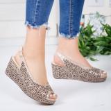 Sandale dama cu platforma piele naturala bej Hunita -rl