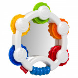 Jucarie zornaitoare, fisher price,model tamburina cu oglinda, 16×3 cm, multicolor