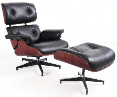 Scaun Eames Lounge Chair cu Otoman piele neagra foto
