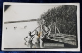 BAILE AMARA - GRUP DE COPII LA SCALDAT , FOTOGRAFIE TIP CARTE POSTALA , NECIRCULATA , DATATA 1942