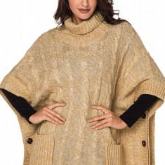 A740-126 Pulover tricotat stil poncho cu buzunare, M