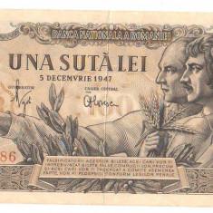 SV * Romania  100  LEI  1947  *  Emisiunea 5 DECEMBRIE       VF +