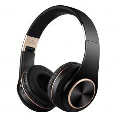 Casti audio bluetooth T8, 10 m, microfon, 300 mAh, Negru/Auriu