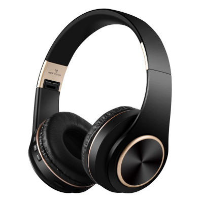 Casti audio bluetooth T8, 10 m, microfon, 300 mAh, Negru/Auriu foto