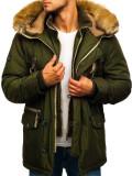 Cumpara ieftin Geacă de iarnă parka pentru bărbat verde Bolf 1045