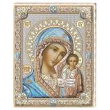 Icoana Maica Domnului de la Kazan pe Foita de Argint 925 cu Auriu si Color 12×15.5cm COD: 1711
