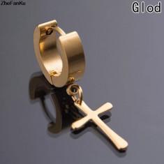 Cercei Barbati baieti toarte ureche HOOP 14 mm gold cruce atarnata pereche