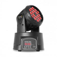 Beamz MHL, cap în mișcare, 18 x 3 W, RGB, DMX, negru