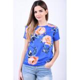 Bluza Florala Pieces Jemma Albastru