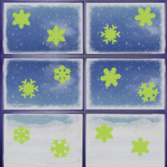 Sticker decorativ glow luminos model fulgi zapada, set 6 bucati