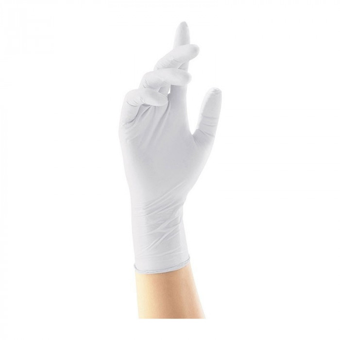Manusi latex Super Gloves marimea M, albe, 100 bucati/cutie, usor pudrate