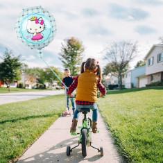 Balon Hello Kitty, din folie, albastru, diametru 45 cm