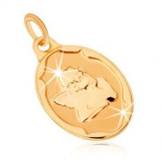 Cumpara ieftin Pandantiv din aur 375 - medalion oval, înger sprijinindu-şi capul în mâini