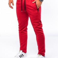Pantaloni barbati rosu slim cu banda siret si buzunare P549