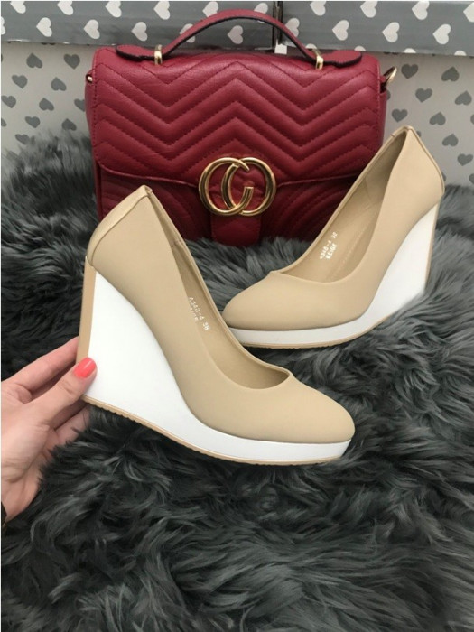Pantofi dama bej cu platforma marime 36, 37, 38, 39, 40+CADOU