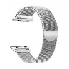 Curea magnetica Apple Watch, metalica, reglabila, argintie 38/40mm