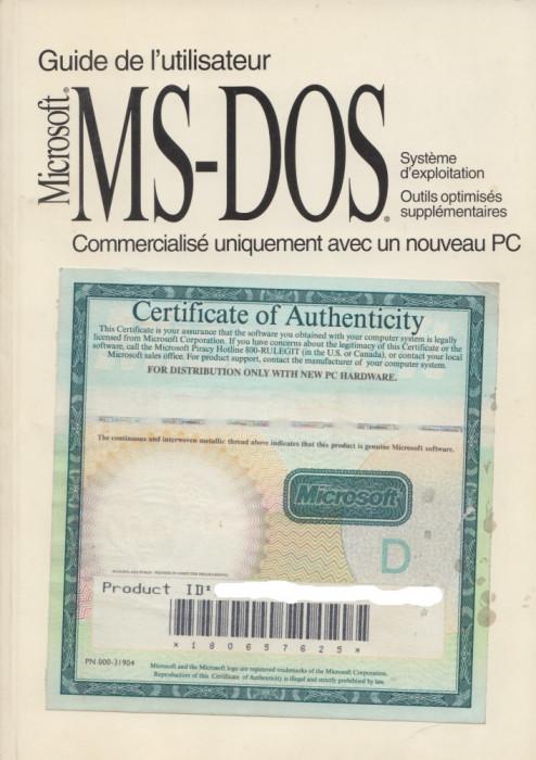 * * * - GUIDE DE L'UTILISATEUR ABREGE. MICROSOFT (R) MS-DOS (R) 6.22, 1994